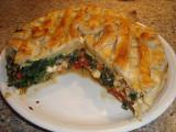 Spinazie taart met Feta zongedroogde tomaatjes en gerookte kip