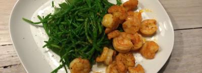 Zeekraal, peultjes en chili knoflook garnalen